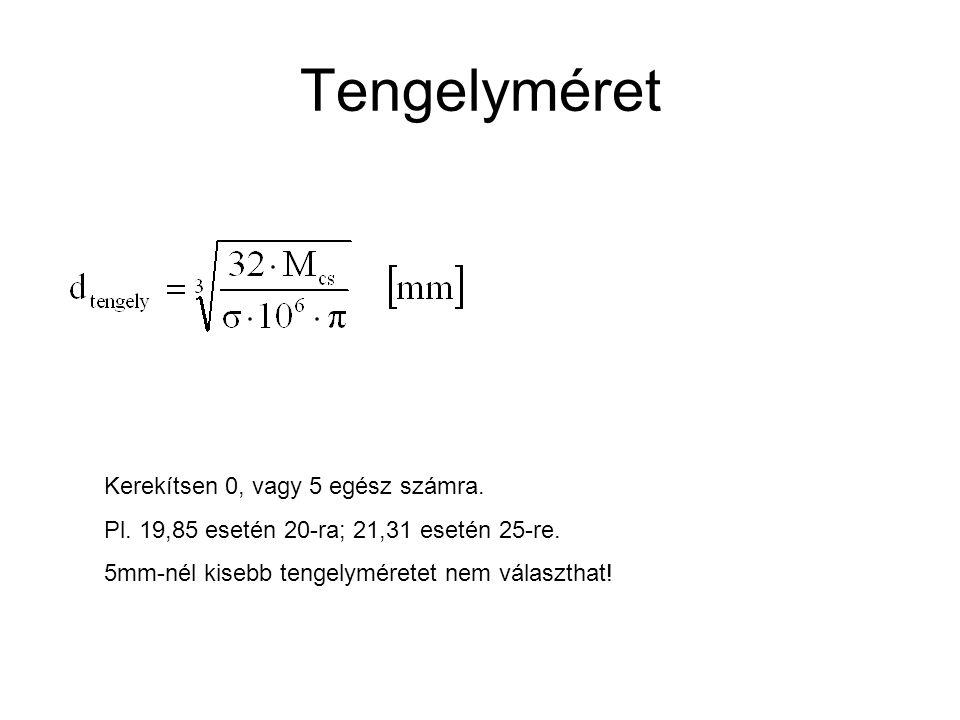 Tengelyméret Kerekítsen 0, vagy 5 egész számra. Pl. 19,85 esetén 20-ra; 21,31 esetén 25-re. 5mm-nél kisebb tengelyméretet nem választhat!