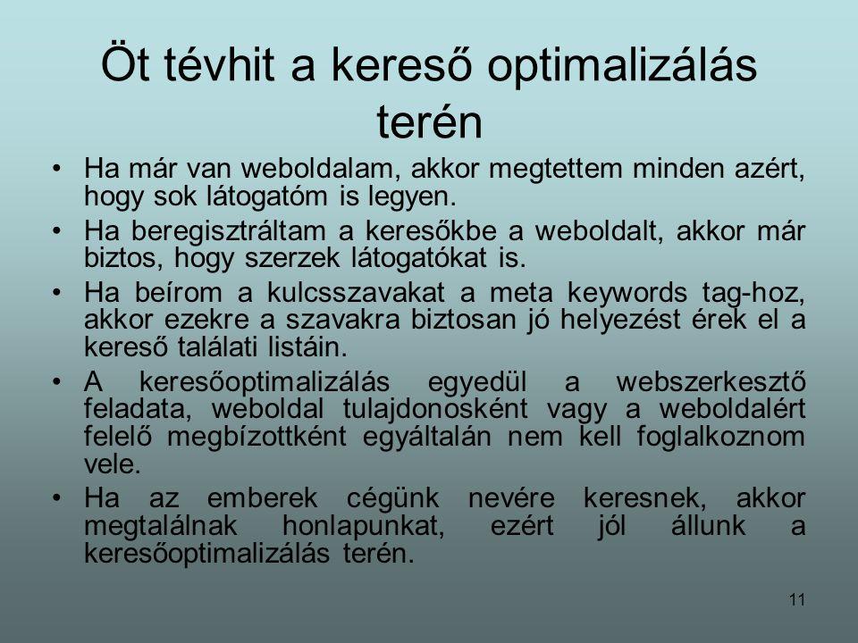 11 Öt tévhit a kereső optimalizálás terén Ha már van weboldalam, akkor megtettem minden azért, hogy sok látogatóm is legyen.