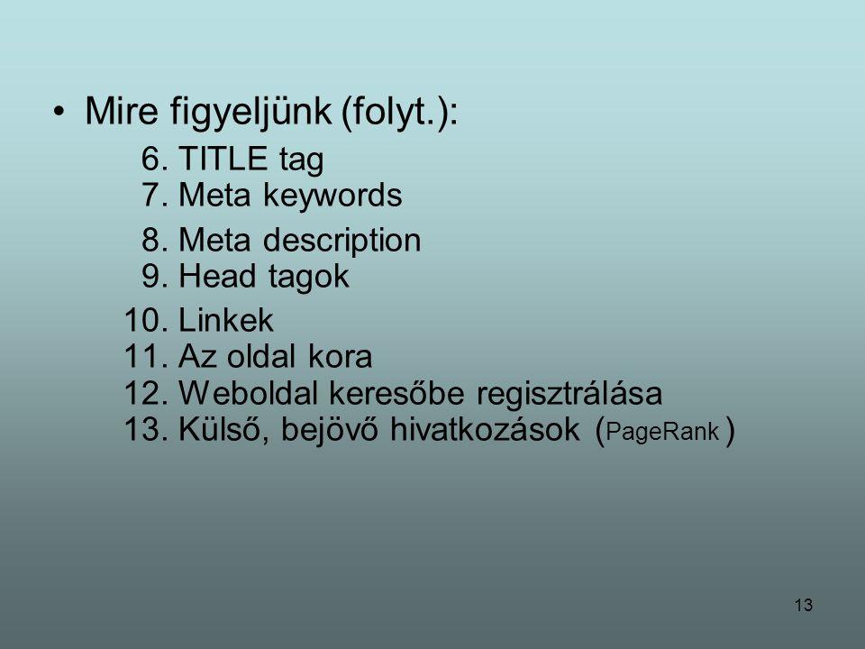 13 Mire figyeljünk (folyt.): 6. TITLE tag 7. Meta keywords 8.