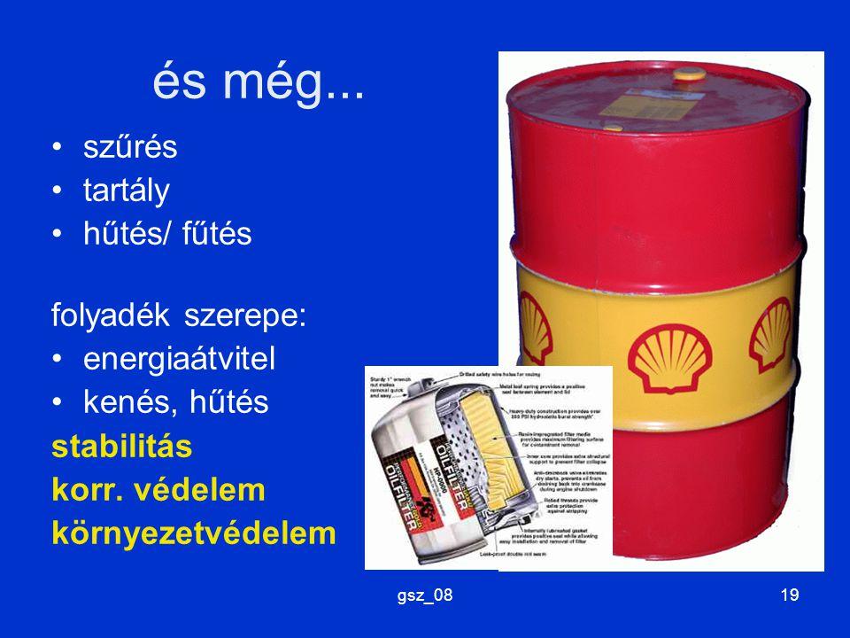 gsz_0819 és még... szűrés tartály hűtés/ fűtés folyadék szerepe: energiaátvitel kenés, hűtés stabilitás korr. védelem környezetvédelem