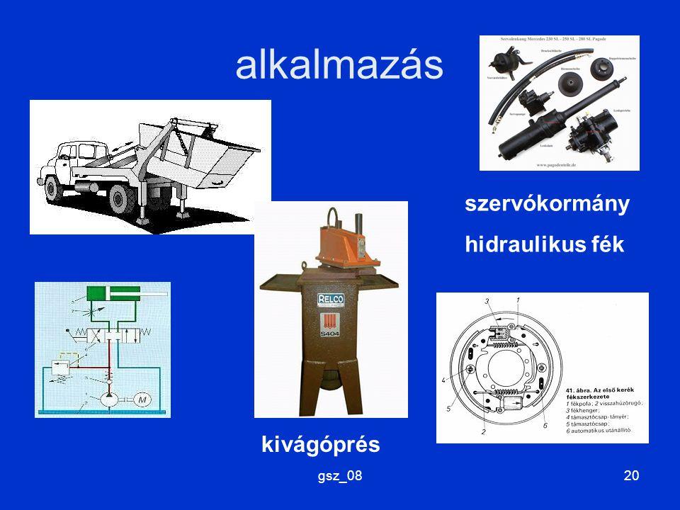 gsz_0820 alkalmazás kivágóprés szervókormány hidraulikus fék