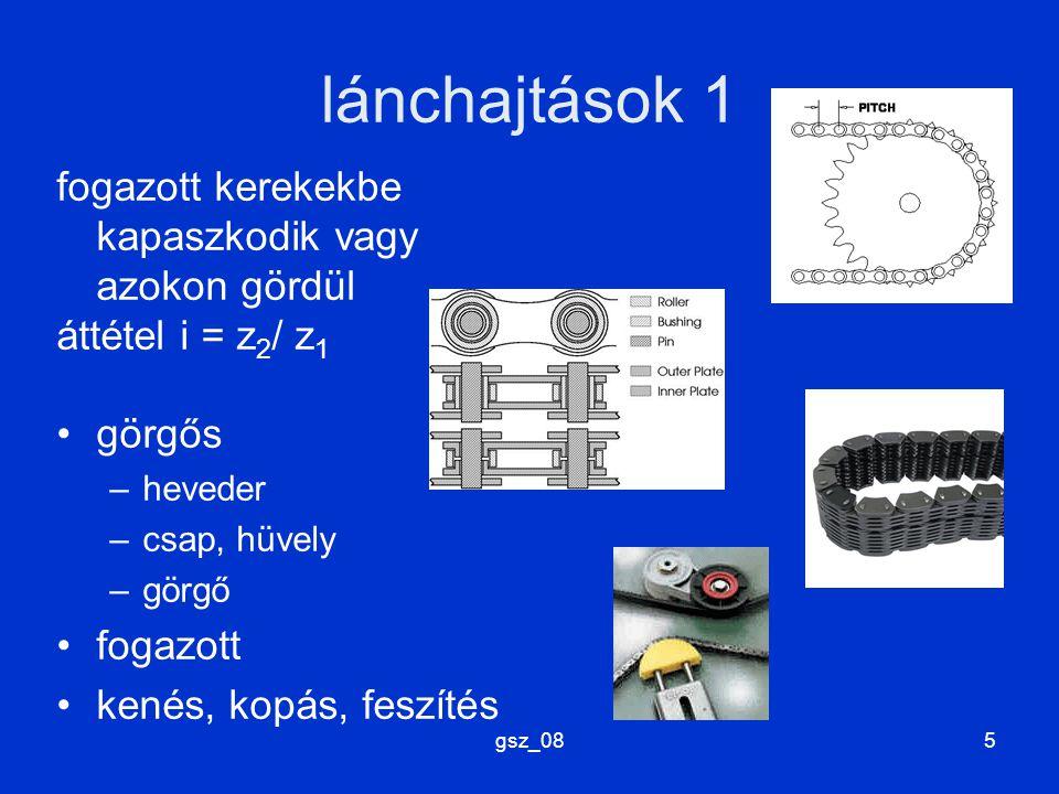 gsz_085 lánchajtások 1 fogazott kerekekbe kapaszkodik vagy azokon gördül áttétel i = z 2 / z 1 görgős –heveder –csap, hüvely –görgő fogazott kenés, ko