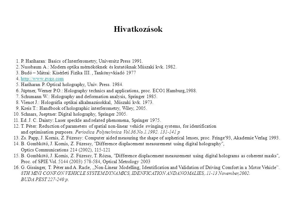1. P. Hariharan: Basics of Interferometry, Universitz Press 1991. 2. Nussbaum A.: Modern optika mérnököknek és kutatóknak Műszaki kvk. 1982. 3. Budó –