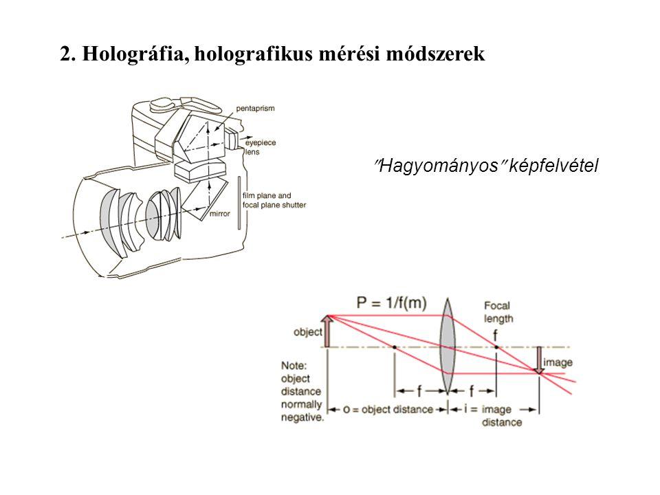 2. Holográfia, holografikus mérési módszerek  Hagyományos  képfelvétel