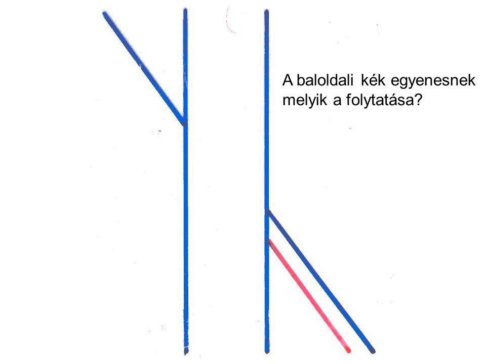 A baloldali kék egyenesnek melyik a folytatása?