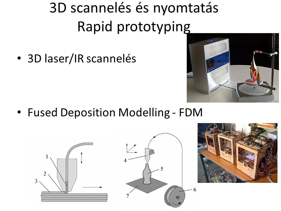 3D scannelés és nyomtatás Rapid prototyping 3D laser/IR scannelés Fused Deposition Modelling - FDM