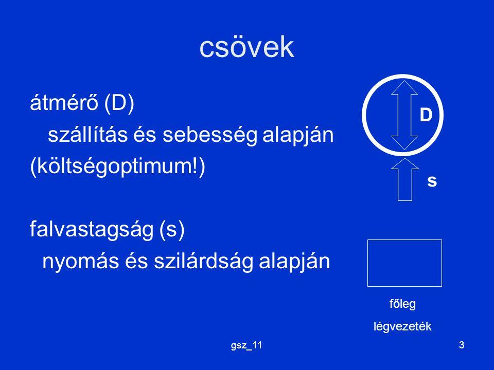 gsz_113 csövek átmérő (D) szállítás és sebesség alapján (költségoptimum!) falvastagság (s) nyomás és szilárdság alapján D s főleg légvezeték