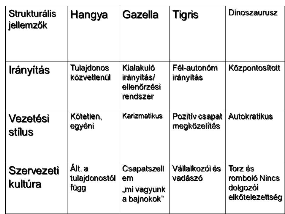 Strukturális jellemzők HangyaGazellaTigrisDinoszaurusz Irányítás Tulajdonos közvetlenül Kialakuló irányítás/ ellenőrzési rendszer Fél-autonóm irányítá