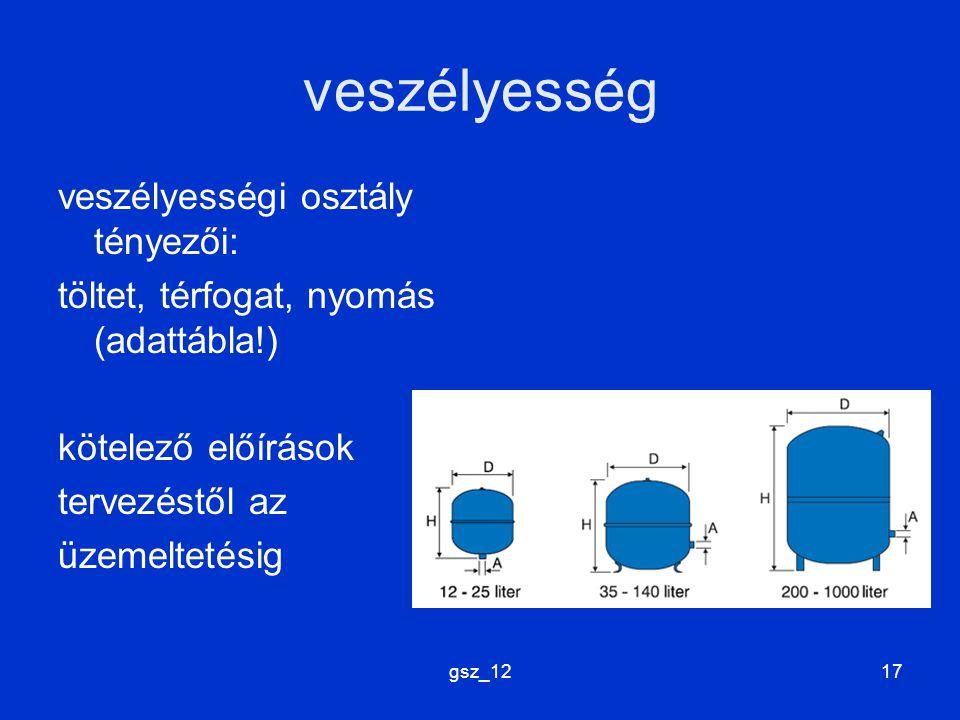 gsz_1217 veszélyesség veszélyességi osztály tényezői: töltet, térfogat, nyomás (adattábla!) kötelező előírások tervezéstől az üzemeltetésig