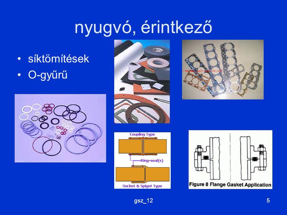 gsz_125 nyugvó, érintkező síktömítések O-gyűrű