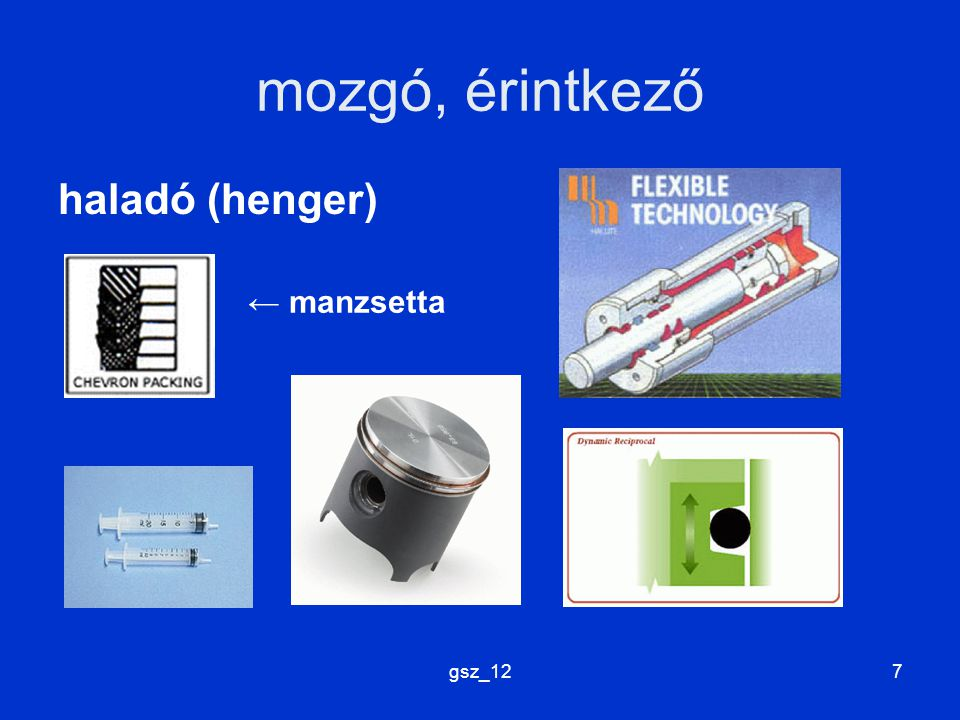 gsz_127 mozgó, érintkező haladó (henger) ← manzsetta