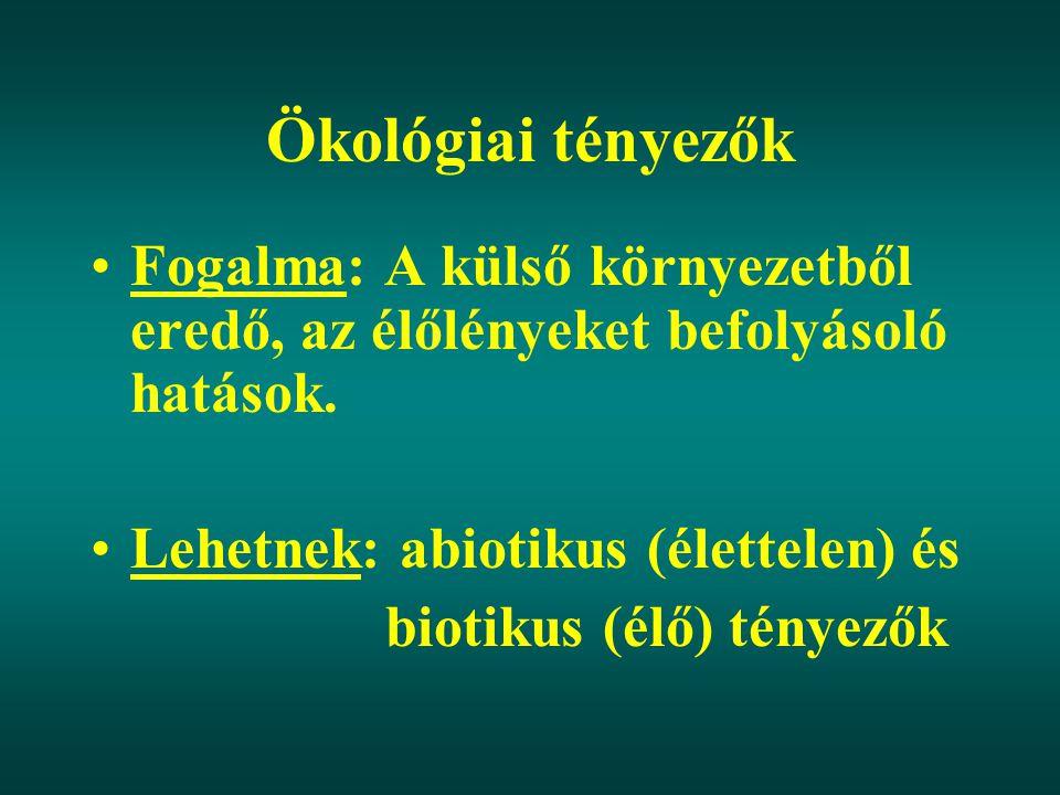 Ökológiai tényezők Abiotikus tényezők: Víz, hőmérséklet, fény, levegő, talaj Biotikus tényezők: 1.