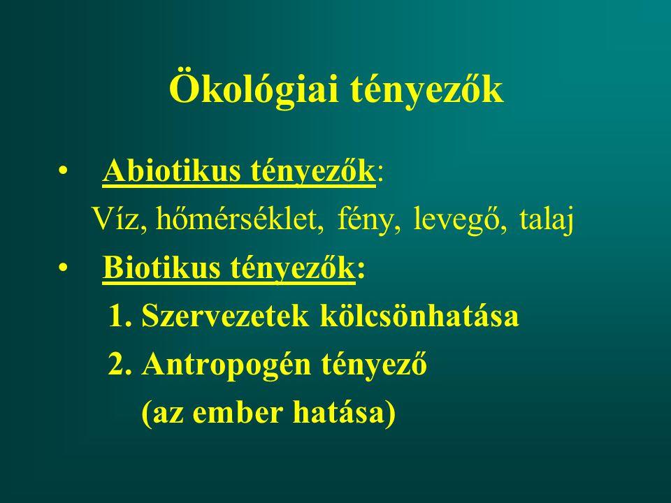 Ökológiai tényezők Abiotikus tényezők: Víz, hőmérséklet, fény, levegő, talaj Biotikus tényezők: 1. Szervezetek kölcsönhatása 2. Antropogén tényező (az