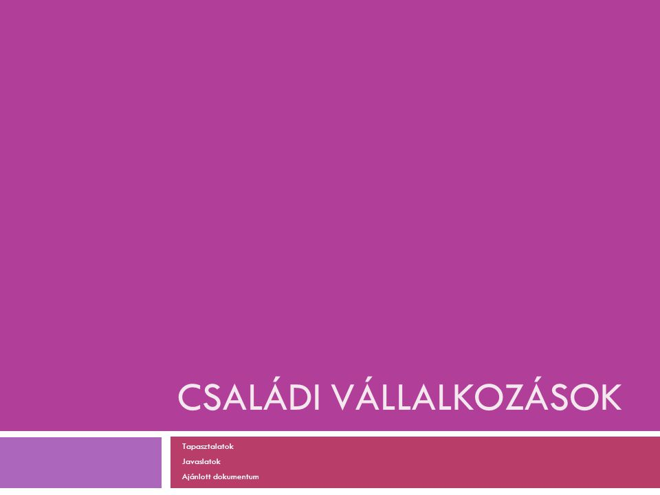 CSALÁDI VÁLLALKOZÁSOK Tapasztalatok Javaslatok Ajánlott dokumentum