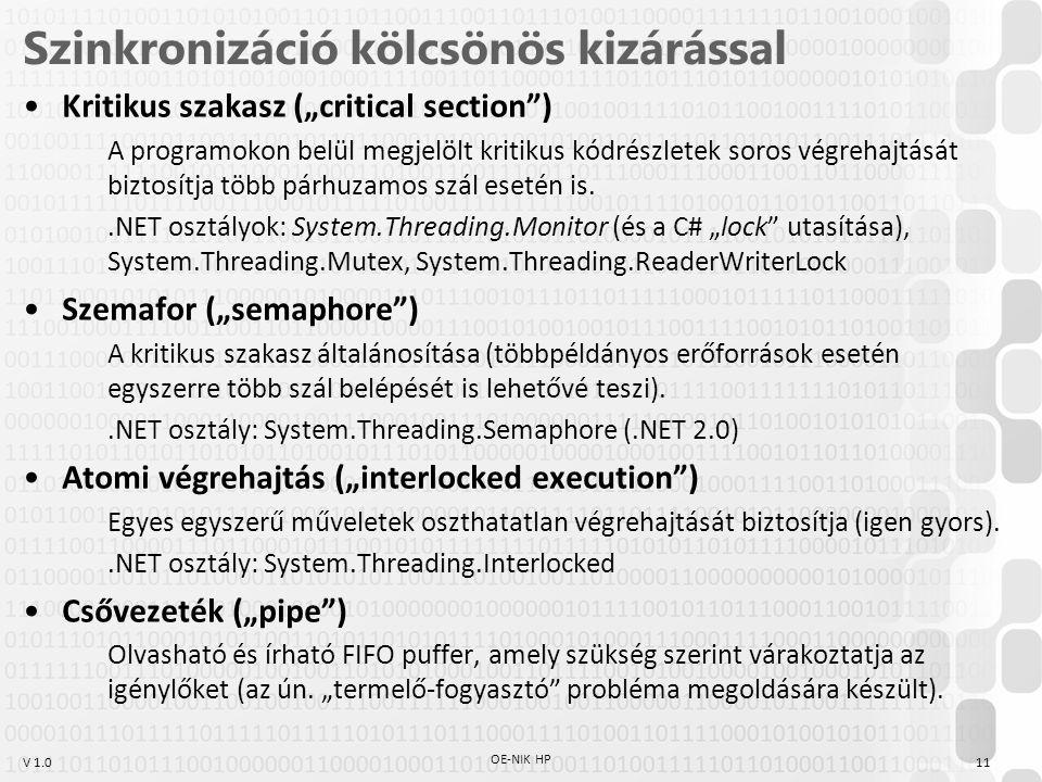 """V 1.0 Szinkronizáció kölcsönös kizárással Kritikus szakasz (""""critical section ) A programokon belül megjelölt kritikus kódrészletek soros végrehajtását biztosítja több párhuzamos szál esetén is..NET osztályok: System.Threading.Monitor (és a C# """"lock utasítása), System.Threading.Mutex, System.Threading.ReaderWriterLock Szemafor (""""semaphore ) A kritikus szakasz általánosítása (többpéldányos erőforrások esetén egyszerre több szál belépését is lehetővé teszi)..NET osztály: System.Threading.Semaphore (.NET 2.0) Atomi végrehajtás (""""interlocked execution ) Egyes egyszerű műveletek oszthatatlan végrehajtását biztosítja (igen gyors)..NET osztály: System.Threading.Interlocked Csővezeték (""""pipe ) Olvasható és írható FIFO puffer, amely szükség szerint várakoztatja az igénylőket (az ún."""