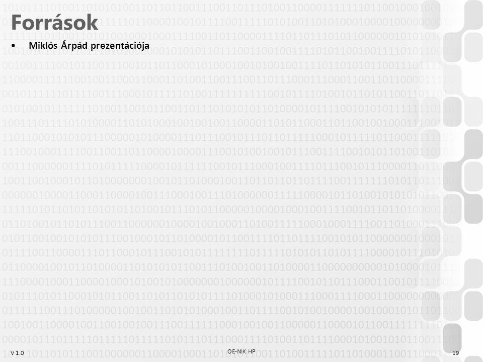V 1.0 OE-NIK HP 19 Források Miklós Árpád prezentációja