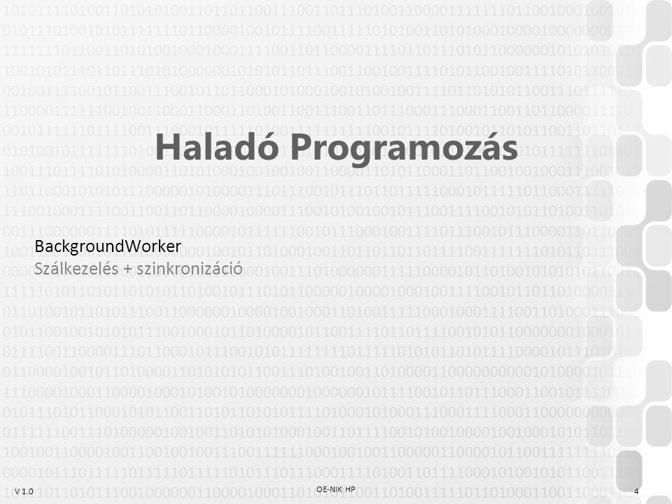 V 1.0 OE-NIK HP 4 Haladó Programozás BackgroundWorker Szálkezelés + szinkronizáció
