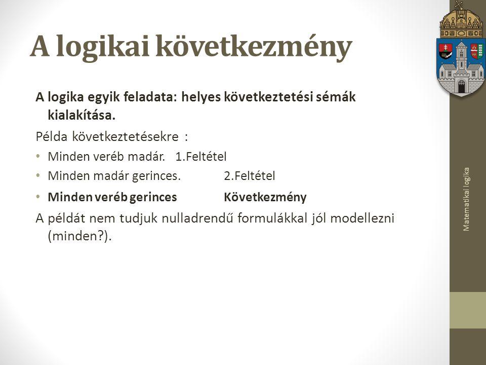 Matematikai logika A logikai következmény A logika egyik feladata: helyes következtetési sémák kialakítása.