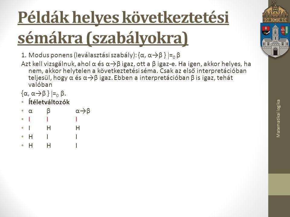 Matematikai logika Példák helyes következtetési sémákra (szabályokra) 1.