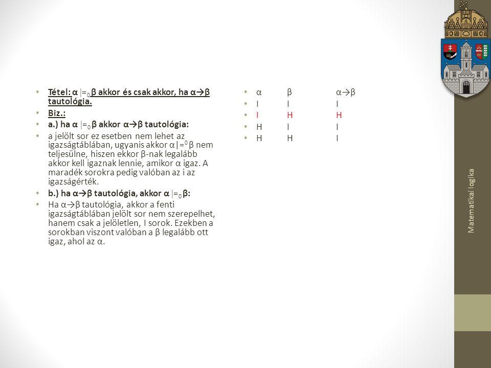 Matematikai logika Tétel: α  = 0 β akkor és csak akkor, ha α→β tautológia.