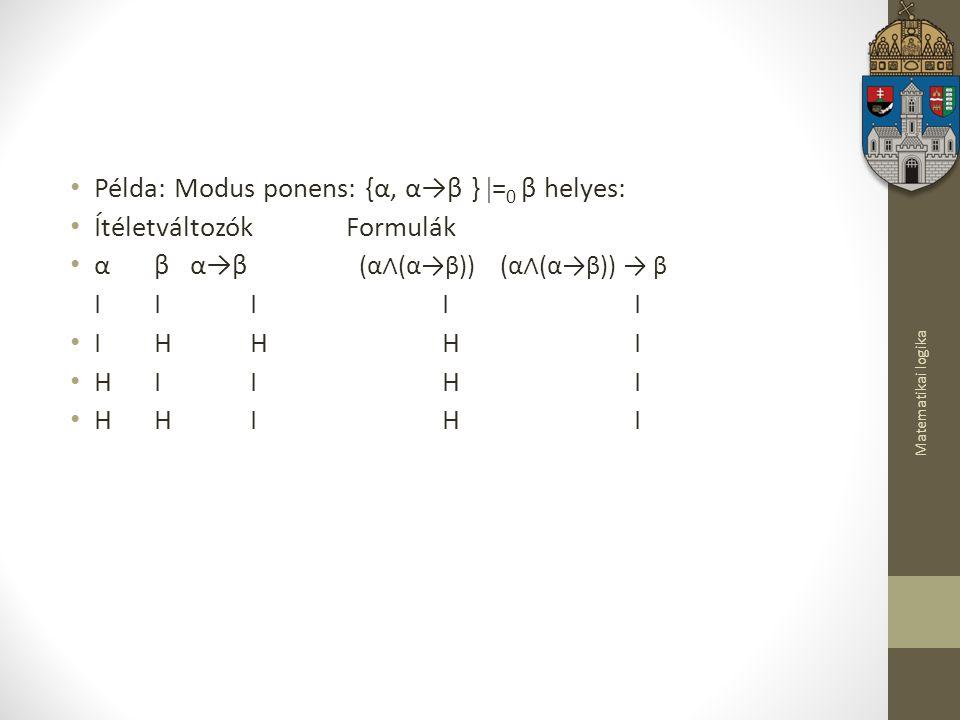 Matematikai logika Példa: Modus ponens: {α, α→β }  = 0 β helyes: Ítéletváltozók Formulák α β α→β (α ∧ (α→β)) (α ∧ (α→β)) → β I I I I I I H H H I H I I H I H H I H I