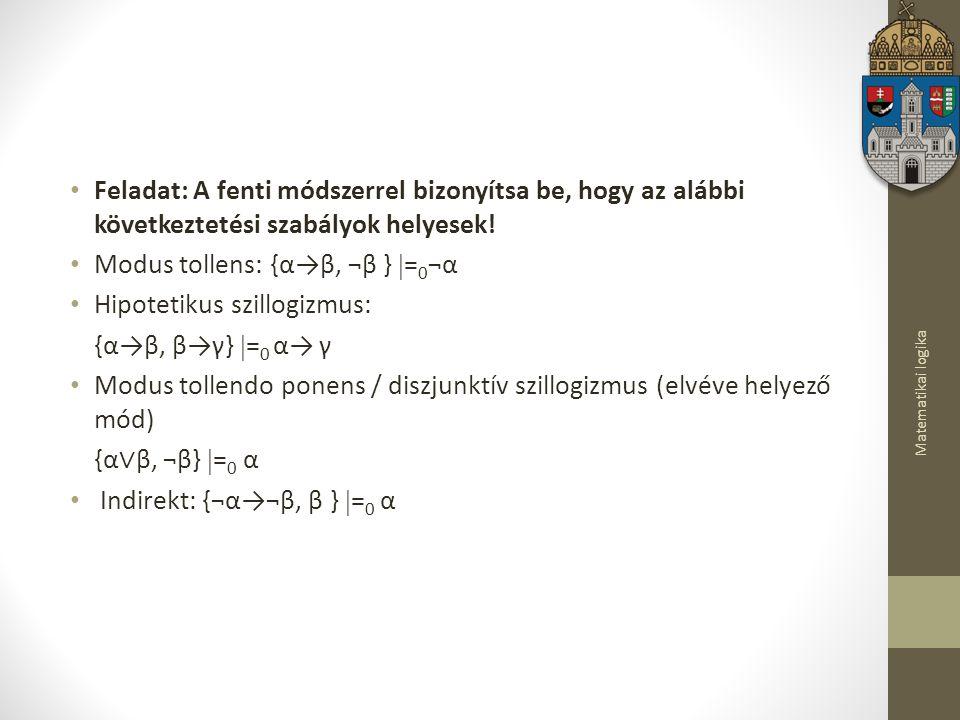 Matematikai logika Feladat: A fenti módszerrel bizonyítsa be, hogy az alábbi következtetési szabályok helyesek.
