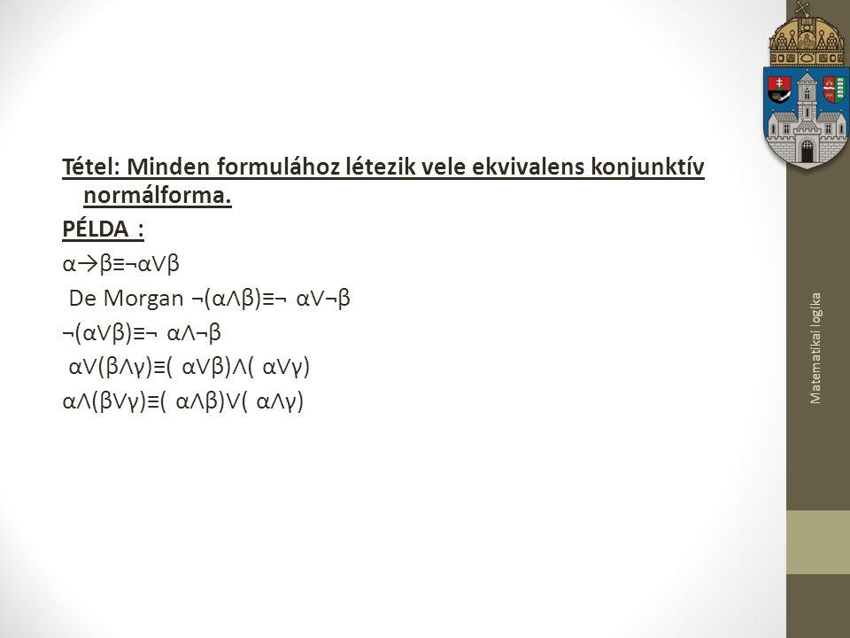 Matematikai logika Tétel: Minden formulához létezik vele ekvivalens konjunktív normálforma.