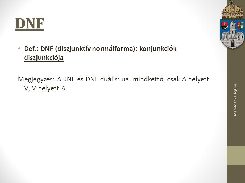 Matematikai logika DNF Def.: DNF (diszjunktív normálforma): konjunkciók diszjunkciója Megjegyzés: A KNF és DNF duális: ua.