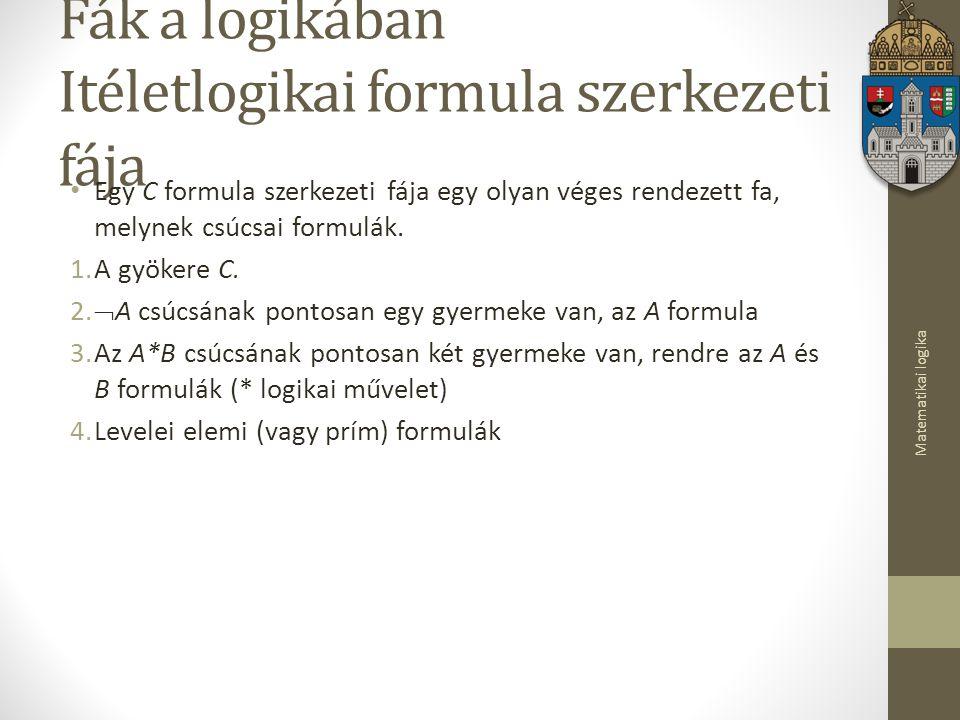 Matematikai logika Fák a logikában Itéletlogikai formula szerkezeti fája Egy C formula szerkezeti fája egy olyan véges rendezett fa, melynek csúcsai formulák.