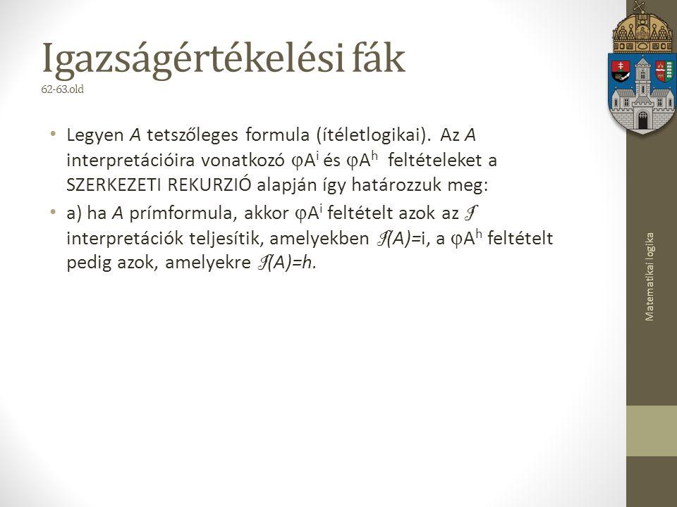 Matematikai logika Igazságértékelési fák 62-63.old Legyen A tetszőleges formula (ítéletlogikai).