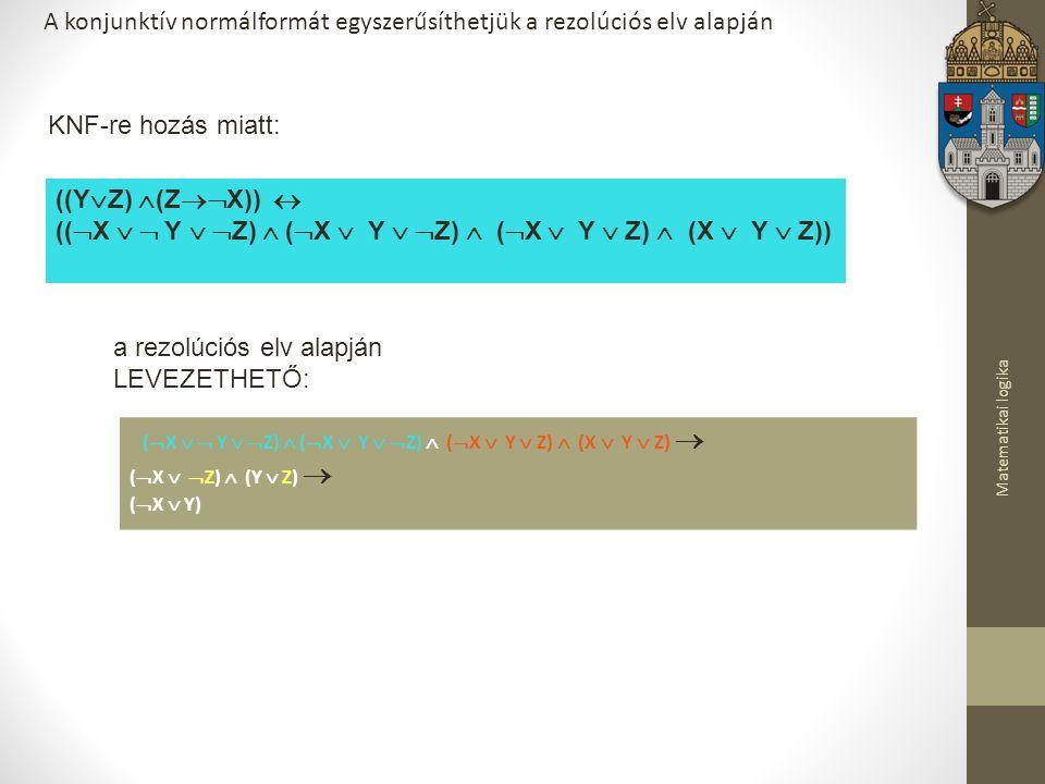 Matematikai logika A konjunktív normálformát egyszerűsíthetjük a rezolúciós elv alapján ((Y  Z)  (Z  X))  ((  X   Y   Z)  (  X  Y   Z)  (  X  Y  Z)  (X  Y  Z)) KNF-re hozás miatt: (  X   Y   Z)  (  X  Y   Z)  (  X  Y  Z)  (X  Y  Z)  (  X   Z)  (Y  Z)  (  X  Y) a rezolúciós elv alapján LEVEZETHETŐ: