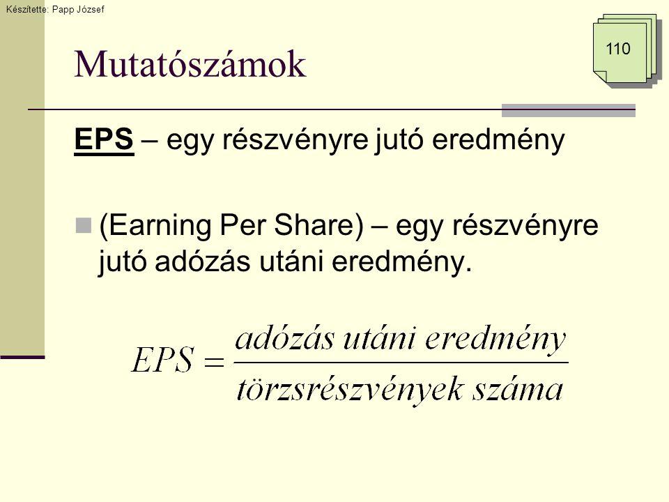 Mutatószámok EPS – egy részvényre jutó eredmény (Earning Per Share) – egy részvényre jutó adózás utáni eredmény. Készítette: Papp József 110