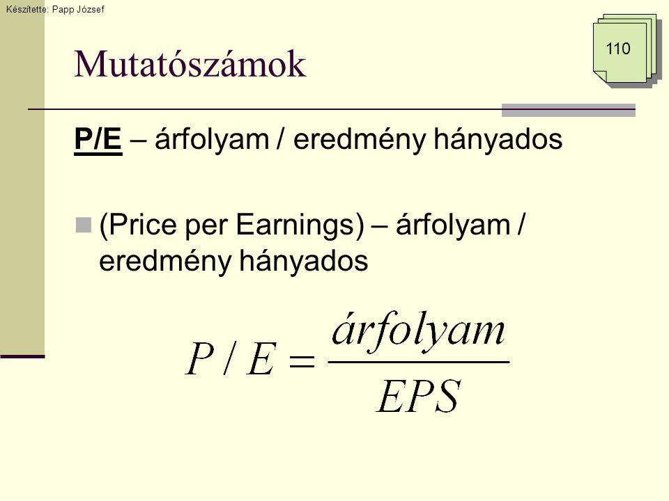 Mutatószámok P/E – árfolyam / eredmény hányados (Price per Earnings) – árfolyam / eredmény hányados Készítette: Papp József 110