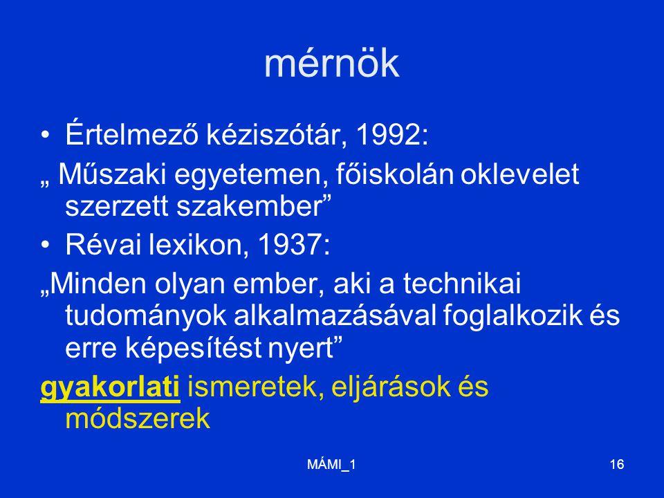 """MÁMI_116 mérnök Értelmező kéziszótár, 1992: """" Műszaki egyetemen, főiskolán oklevelet szerzett szakember Révai lexikon, 1937: """"Minden olyan ember, aki a technikai tudományok alkalmazásával foglalkozik és erre képesítést nyert gyakorlati ismeretek, eljárások és módszerek"""