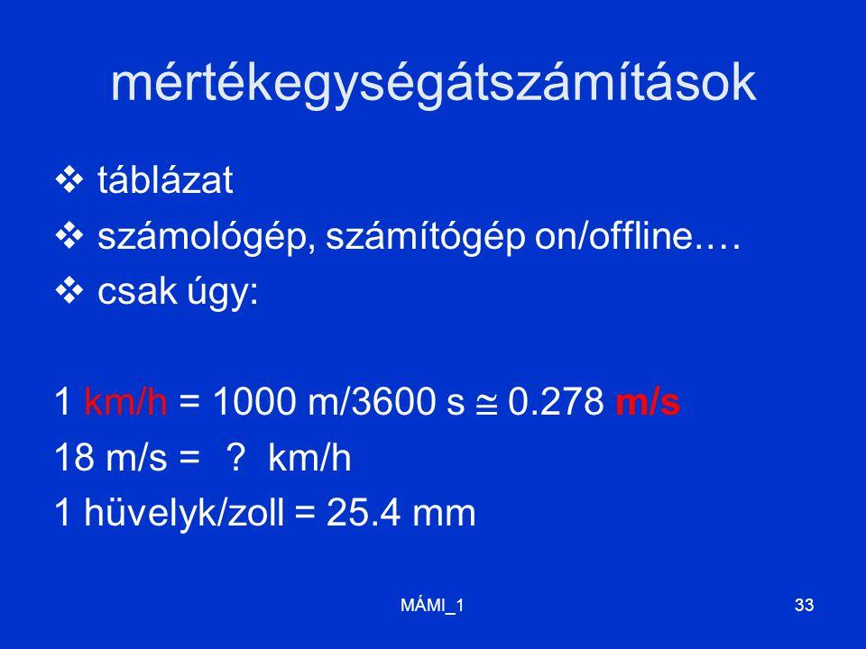 MÁMI_133 mértékegységátszámítások  táblázat  számológép, számítógép on/offline.…  csak úgy: 1 km/h = 1000 m/3600 s  0.278 m/s 18 m/s = ? km/h 1 hü
