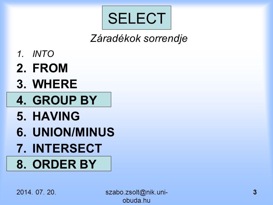Csoportosító függvény analitikus zázadékkal SELECT ename, sal, SUM(SAL) OVER (order by sal) as OSSZ FROM emp;  A lista rendezett – látszik ahogy az összeg növekszik.