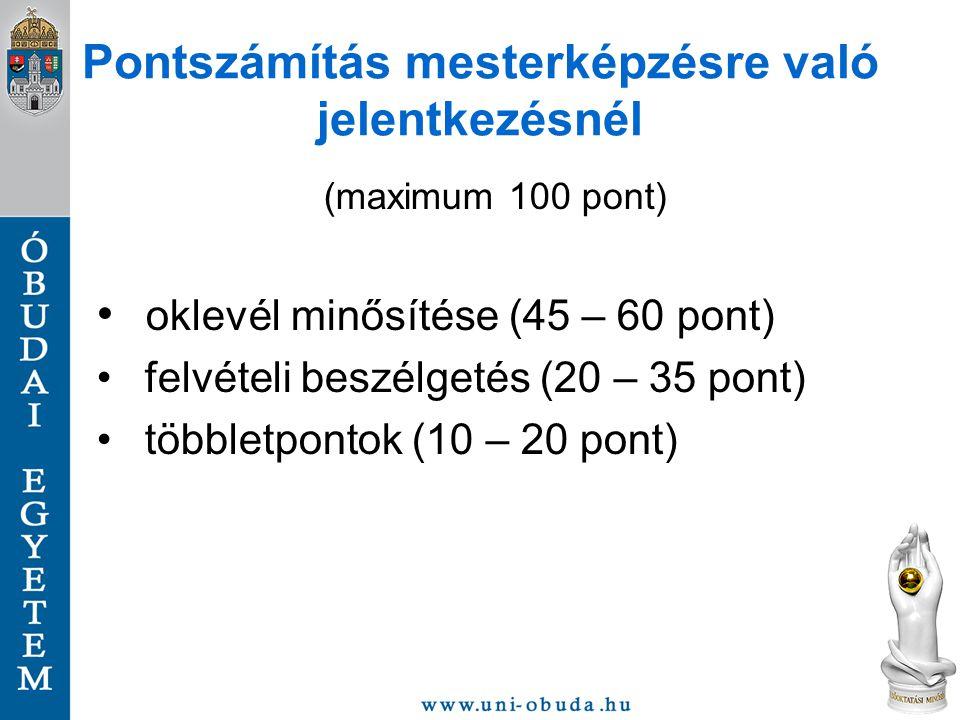 Pontszámítás mesterképzésre való jelentkezésnél (maximum 100 pont) oklevél minősítése (45 – 60 pont) felvételi beszélgetés (20 – 35 pont) többletponto