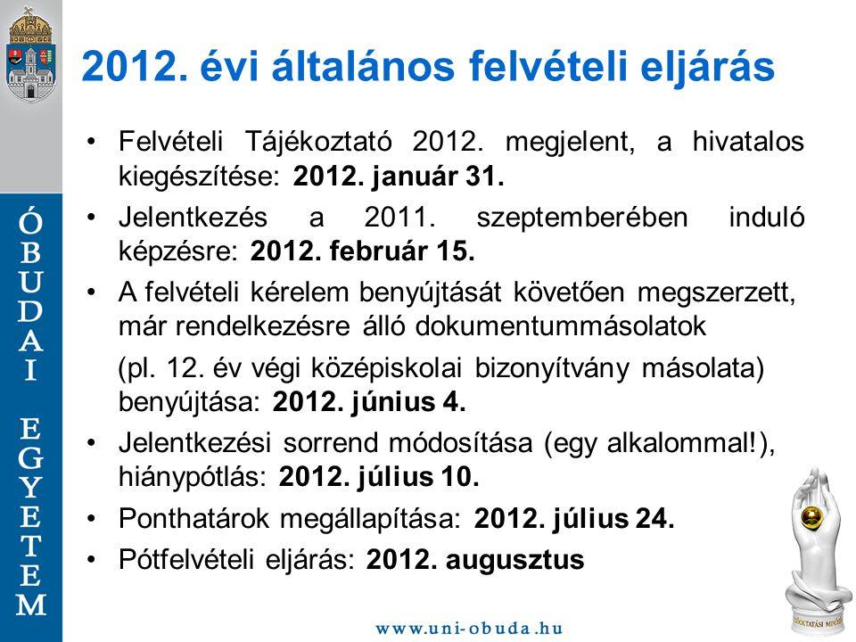 2012. évi általános felvételi eljárás Felvételi Tájékoztató 2012. megjelent, a hivatalos kiegészítése: 2012. január 31. Jelentkezés a 2011. szeptember