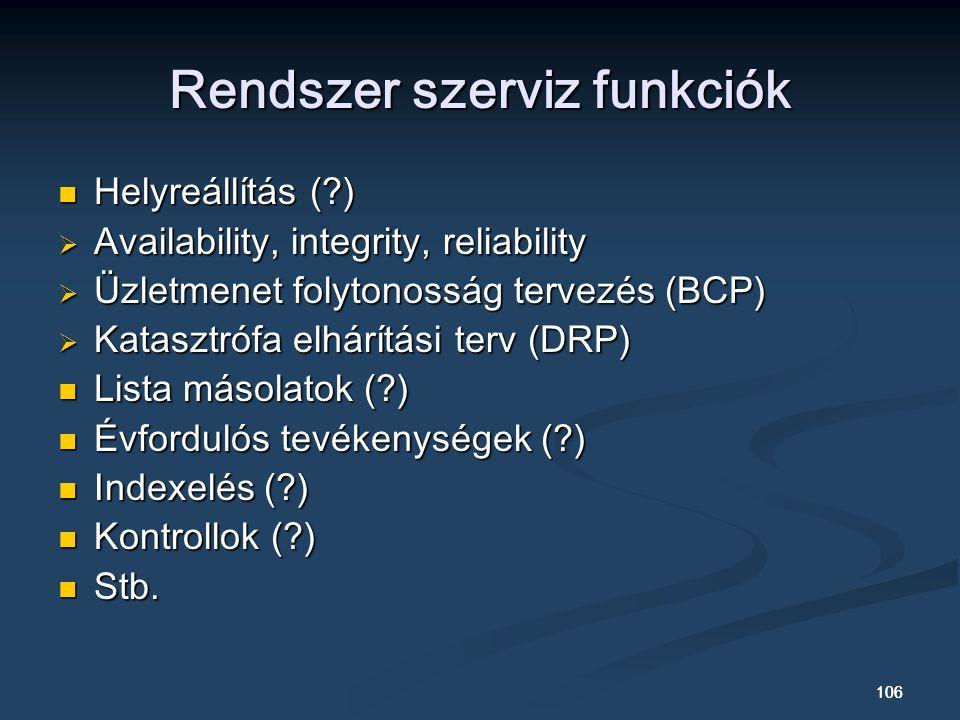 106 Rendszer szerviz funkciók Helyreállítás (?) Helyreállítás (?)  Availability, integrity, reliability  Üzletmenet folytonosság tervezés (BCP)  Katasztrófa elhárítási terv (DRP) Lista másolatok (?) Lista másolatok (?) Évfordulós tevékenységek (?) Évfordulós tevékenységek (?) Indexelés (?) Indexelés (?) Kontrollok (?) Kontrollok (?) Stb.