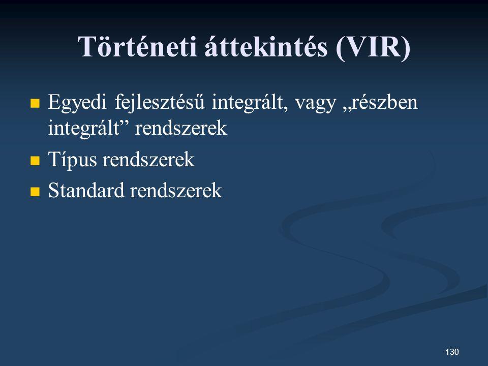 """130 Történeti áttekintés (VIR) Egyedi fejlesztésű integrált, vagy """"részben integrált rendszerek Típus rendszerek Standard rendszerek"""