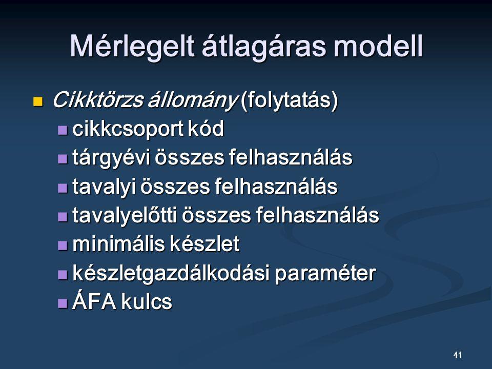 41 Cikktörzs állomány (folytatás) Cikktörzs állomány (folytatás) cikkcsoport kód cikkcsoport kód tárgyévi összes felhasználás tárgyévi összes felhasználás tavalyi összes felhasználás tavalyi összes felhasználás tavalyelőtti összes felhasználás tavalyelőtti összes felhasználás minimális készlet minimális készlet készletgazdálkodási paraméter készletgazdálkodási paraméter ÁFA kulcs ÁFA kulcs Mérlegelt átlagáras modell