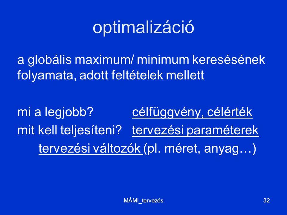 optimalizáció a globális maximum/ minimum keresésének folyamata, adott feltételek mellett mi a legjobb?célfüggvény, célérték mit kell teljesíteni?terv