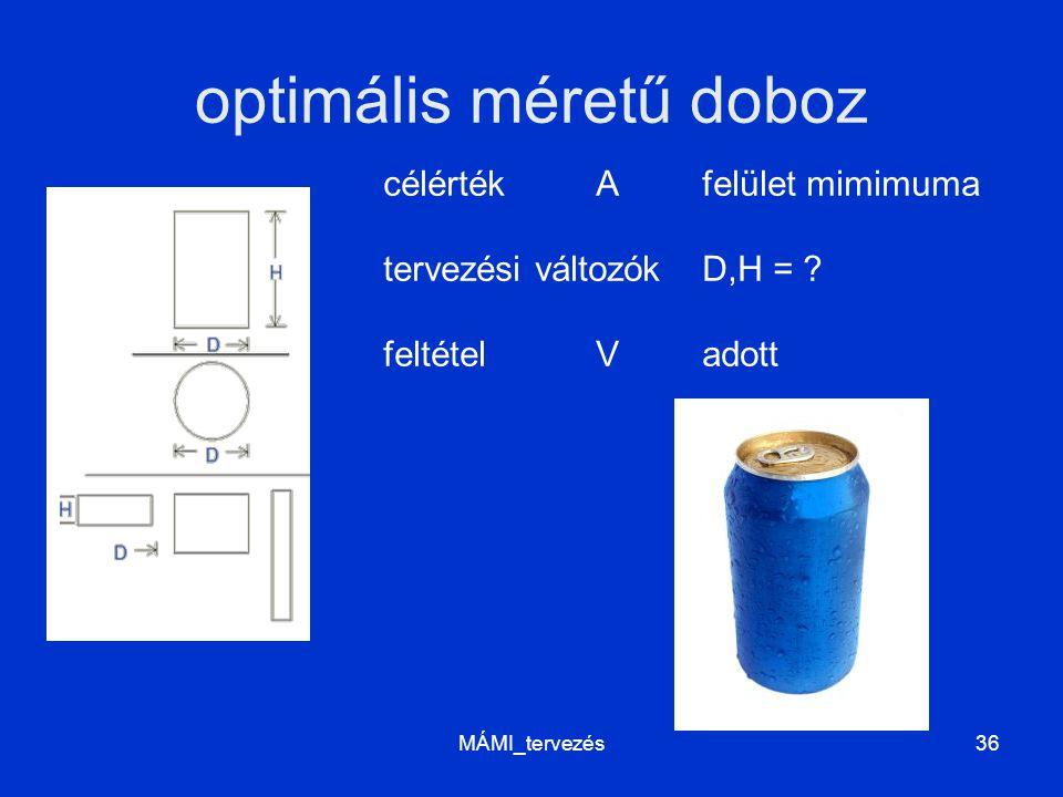 optimális méretű doboz MÁMI_tervezés36 célértékA felület mimimuma tervezési változókD,H = ? feltételV adott