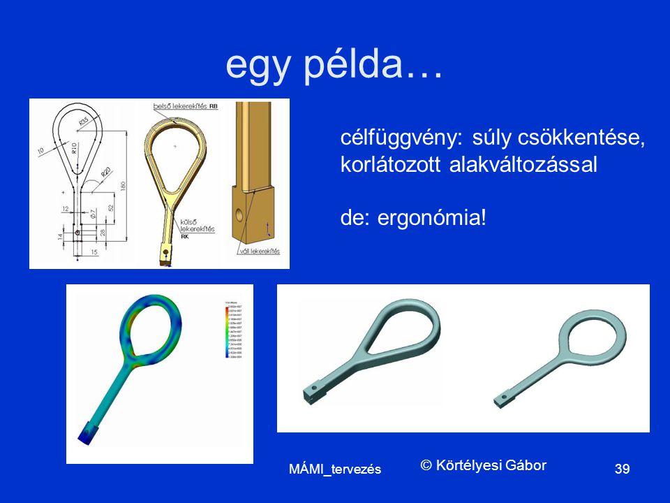 egy példa… MÁMI_tervezés39 célfüggvény: súly csökkentése, korlátozott alakváltozással de: ergonómia! © Körtélyesi Gábor