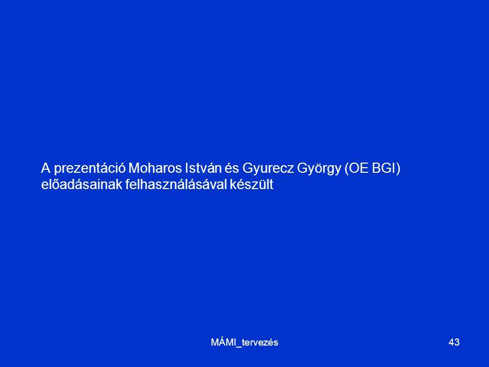 A prezentáció Moharos István és Gyurecz György (OE BGI) előadásainak felhasználásával készült MÁMI_tervezés43