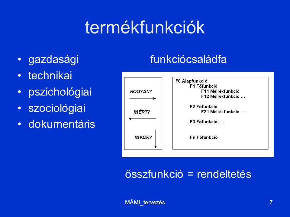 termékfunkciók gazdasági technikai pszichológiai szociológiai dokumentáris funkciócsaládfa MÁMI_tervezés7 összfunkció = rendeltetés