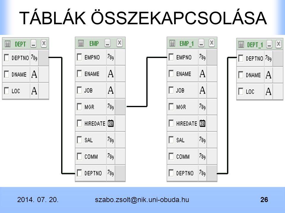 2014. 07. 20.szabo.zsolt@nik.uni-obuda.hu26 TÁBLÁK ÖSSZEKAPCSOLÁSA