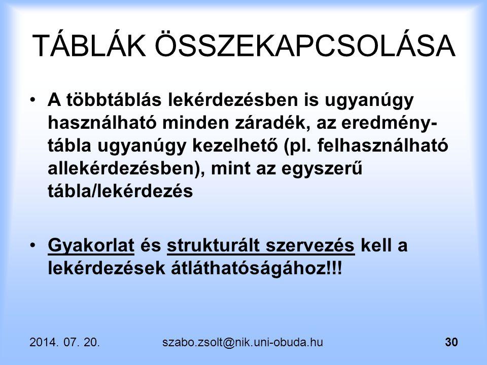 2014. 07. 20.szabo.zsolt@nik.uni-obuda.hu30 TÁBLÁK ÖSSZEKAPCSOLÁSA A többtáblás lekérdezésben is ugyanúgy használható minden záradék, az eredmény- táb