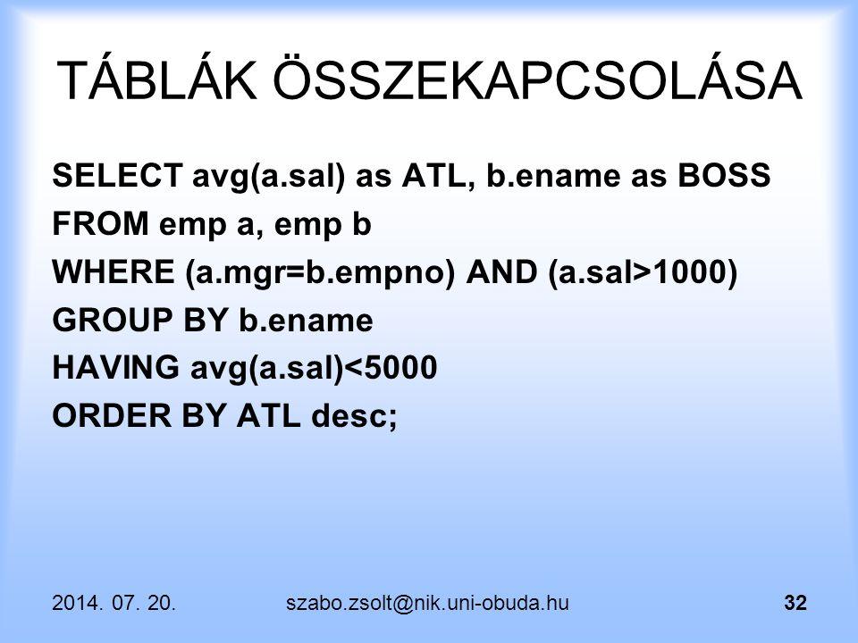 2014. 07. 20.szabo.zsolt@nik.uni-obuda.hu32 TÁBLÁK ÖSSZEKAPCSOLÁSA SELECT avg(a.sal) as ATL, b.ename as BOSS FROM emp a, emp b WHERE (a.mgr=b.empno) A