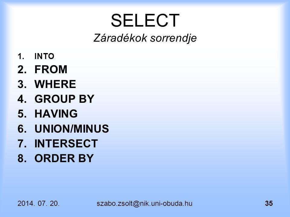 2014. 07. 20.szabo.zsolt@nik.uni-obuda.hu35 SELECT Záradékok sorrendje 1.INTO 2.FROM 3.WHERE 4.GROUP BY 5.HAVING 6.UNION/MINUS 7.INTERSECT 8.ORDER BY
